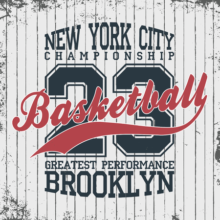 New York, basketball sportswear emblem. Basketball apparel design with lettering. T-shirt graphics. Vector