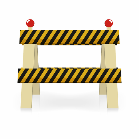 Fence light construction icon. Under construction, street traffic barrier. Black and yellow stripes with lights. Vector illustration