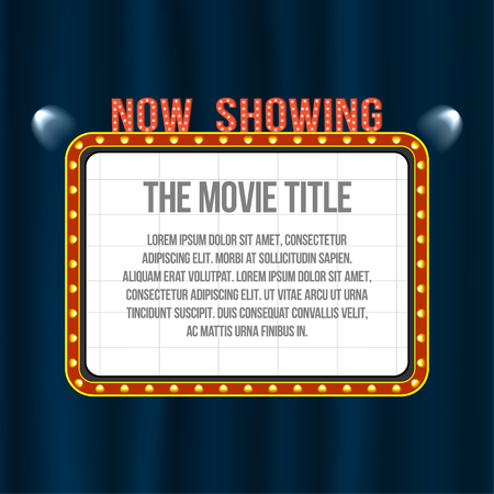 movie theater: Cinema signboard on blue curtain with spotlights and vintage frame. Space for text. Vector