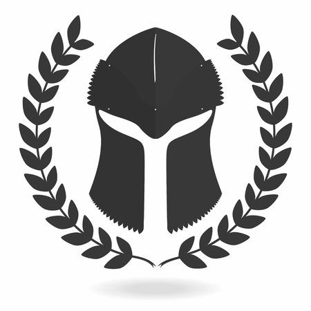 Spartan helmet silhouette with laurel wreath. Front view. Knight, gladiator, viking, warrior helmet icon. Vector Illustration