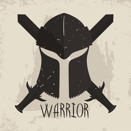 roman soldier: Spartan helmet with crossed swords and lettering Warrior. Greek warrior typography for t-shirt graphics. Vector