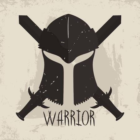 Spartan helmet with crossed swords and lettering Warrior. Greek warrior typography for t-shirt graphics. Vector
