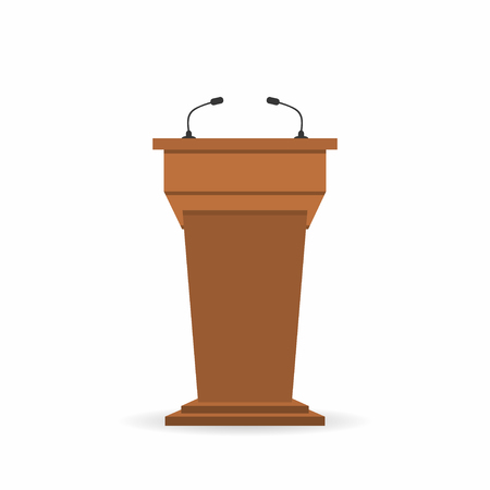 Wooden podium tribune stand rostrum with microphones. Back view from audiences side. Vector illustration