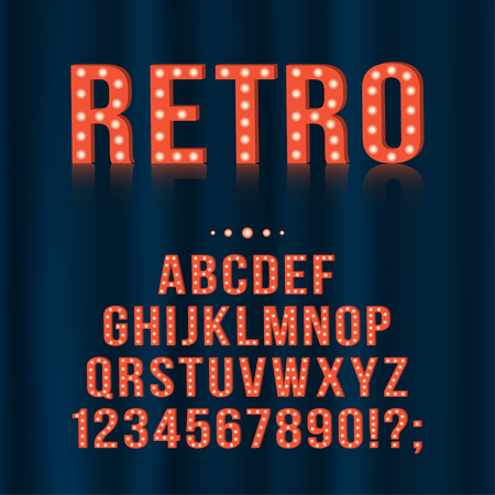 Retro, vintage light bulb alphabet letters and numbers for signboards, movie, theatre, casino. Vector english alphabet