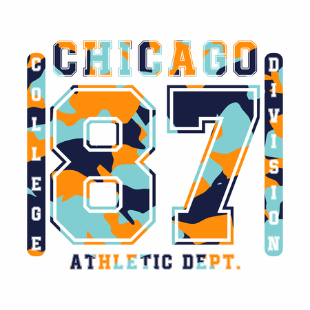 Chicago, athletic department. Camouflage t-shirt design, typography for t-shirt graphics. Vector