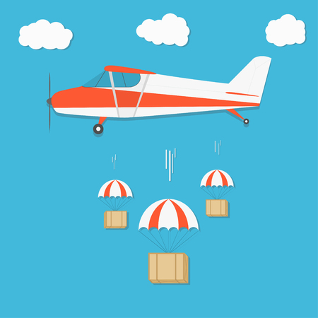 Delivery . Airplane with parachute box packages on blue sky background. Vector