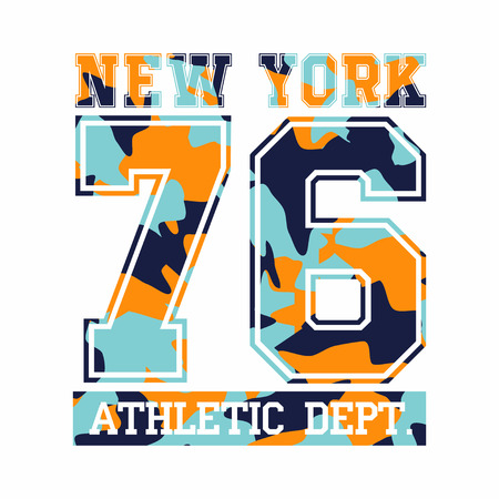 New York City, athletic department. Camouflage tt-shirt design, typography for t-shirt graphics. Vector