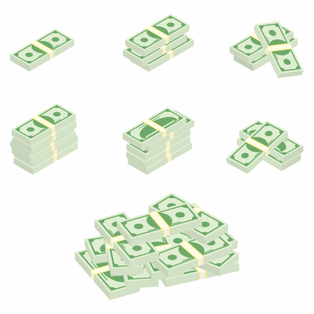money packs: Dollars. Packages of banknotes in various angles. Different stacks and piles of cash. Vector Illustration