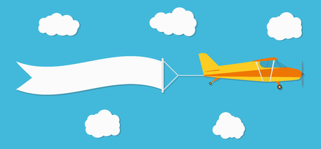 Flying advertising banner. Plane with horizontal banner on blue sky background. Vector