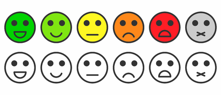 Rating satisfaction. Feedback in form of monochrome and colorful emotions, smileys, emojis. Excellent, good, normal, bad, awful, silent. Vector