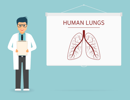 Arts met medisch klembord in handen. Menselijke longen op projectiescherm. Arts op presentatie.