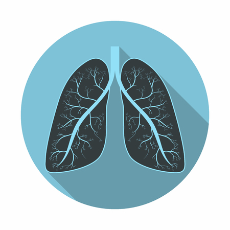 Lungs. Human lungs anatomy symbol with shadow. Flat design. Vector