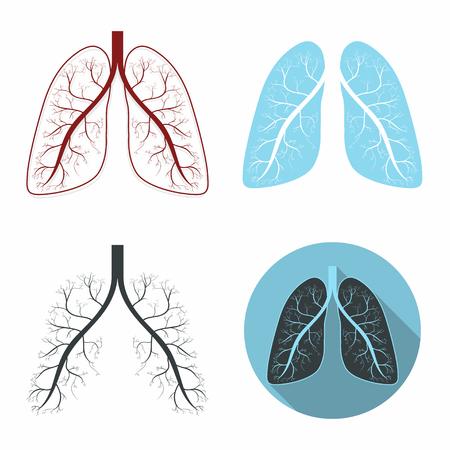 Lungs set. Human lungs anatomy symbol set. Illustration