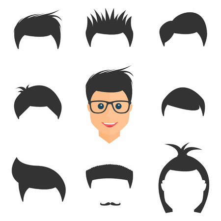 set of men hair styling: Hairstyles set. Mens hairstyles in different form. Collection of fashionable stylish types. Vector