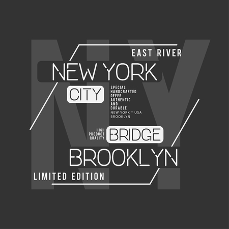 New York, Brooklyn typography. T-shirt graphics. Vector