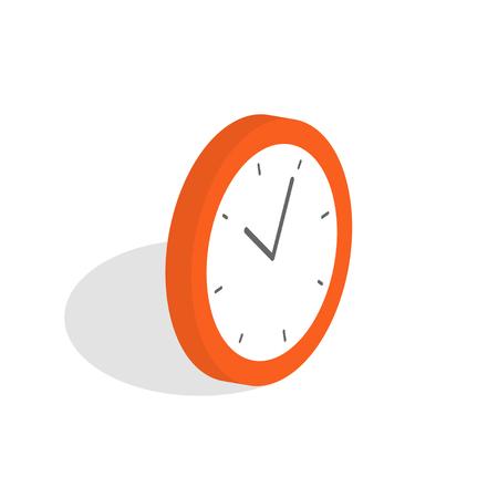 Isometric clock icon. Alarm clock, wake-up time isolated on white background.