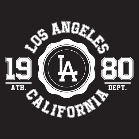 Los Angeles, California typography for t-shirt print. Sports, athletic t-shirt graphics. Vector Illustration