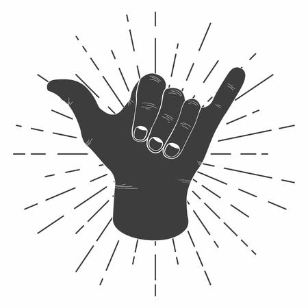 レトロなサンバーストとシャカの手をサーフィンします。ヴィンテージ ・ シャカ記号タイポグラフィ t シャツとポスター印刷。T シャツのグラフィ  イラスト・ベクター素材