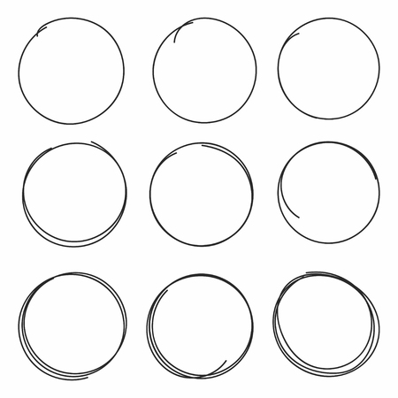 Set of hand drawn scribble circles isolated on white background. Vector