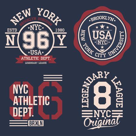Conjunto de etiquetas del vintage, tipografía del deporte atlético para la impresión de la camiseta. Estilo del equipo universitario. Gráfico de la camiseta. Vector Foto de archivo - 80338322