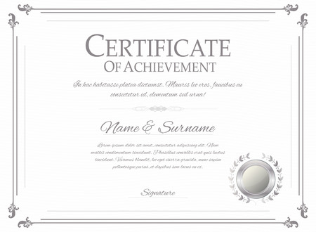 silver: Certificate design template. Retro certificate, diploma design template. Vector