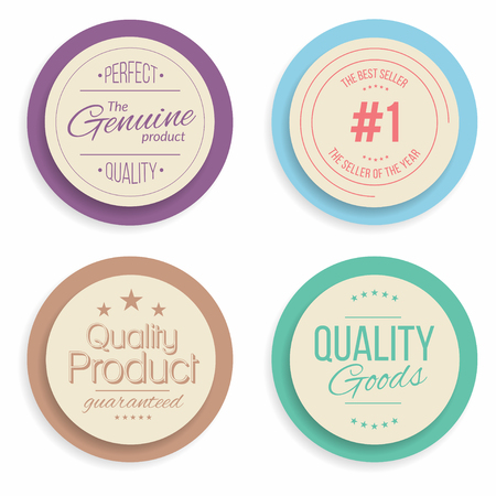quality guarantee: Badges and labels collection. Quality, assurance marks. Vector Illustration