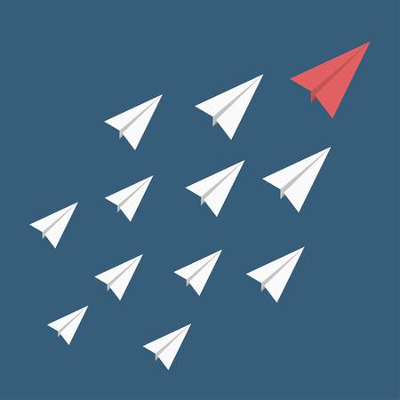 Leadership, se démarquer du concept de la foule. Avion de papier rouge comme un leader parmi d'autres blanc. Vecteur