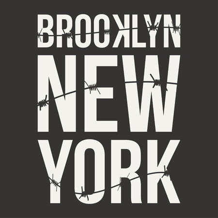 jail: New York, Brooklyn typography for t-shirt print. Barbed wire and lettering. T-shirt graphics. Vector