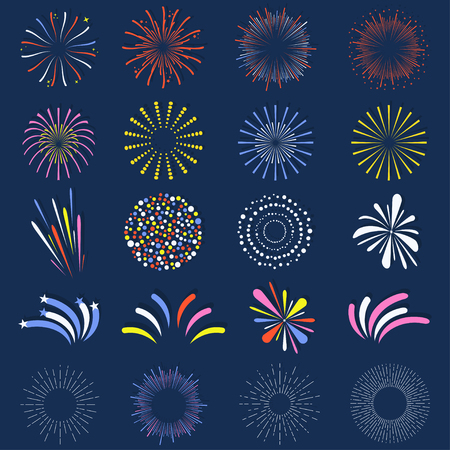 Set of isolated fireworks, Brightly colorful and monochrome celebration firework balls.