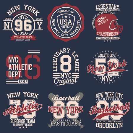 Vintage labels set, athletic sport typography for t shirt print Varsity style T-shirt graphic Vector