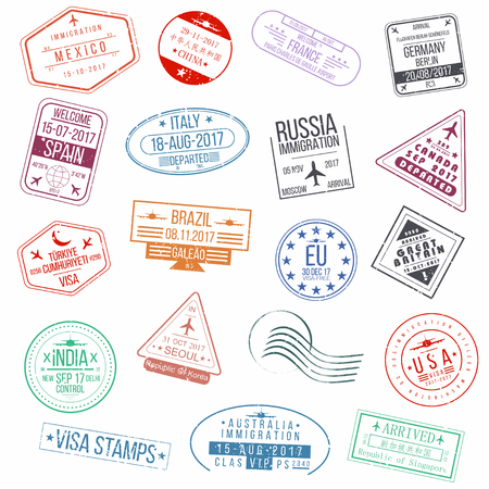 Set of visa passport stamps International arrivals sign rubber stamps Vector