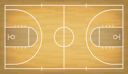 Basketball court with wooden floor. View from above. Vector