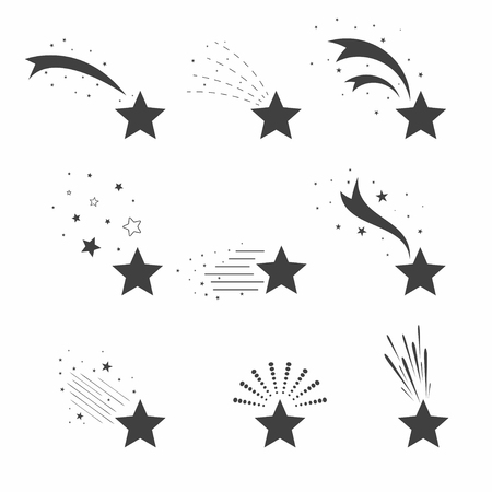 Shooting, falling stars icons. Icons of meteorites and comets. Falling stars with different tails. Vector Vettoriali