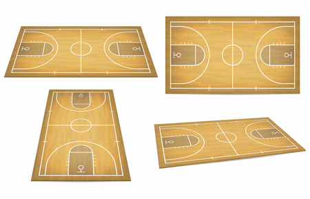 Basketball court with wooden floor. View from above and perspective, isometric view. Vector