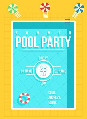 プール パーティーのポスター。夏のパーティの招待状、フライヤーのコンセプト。ベクトル