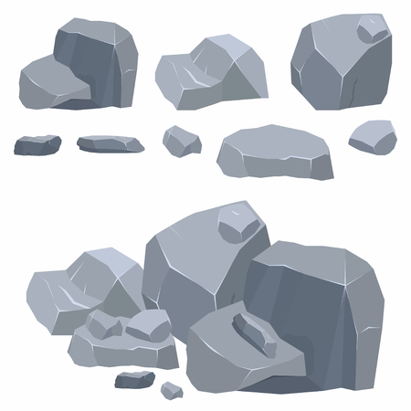 heavy construction: Rocks, stones collection. Different boulders in isometric 3d flat style. Vector