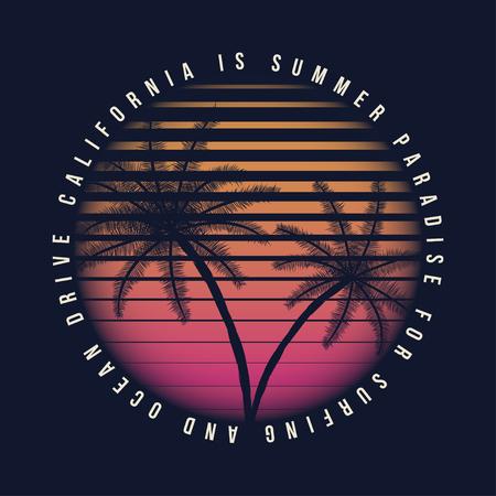 80s style vintage California typography.