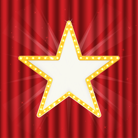 hollywood star: Retro gold star. Vintage frame with lights isolated red on curtain. Vector