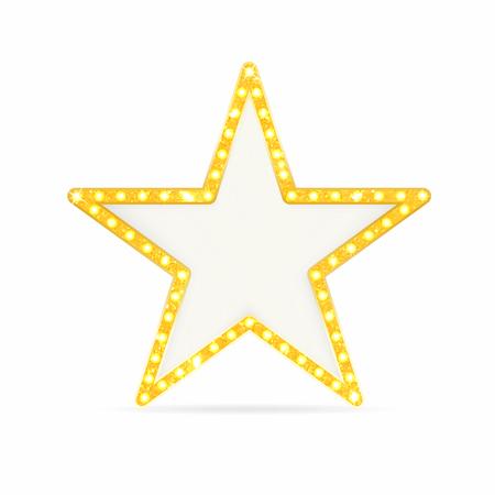 Estrella de oro retro. Marco vintage con luces aisladas sobre fondo blanco. Vector