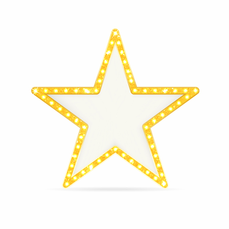 Retro gold star. Vintage frame with lights isolated on white background. Vector Vettoriali