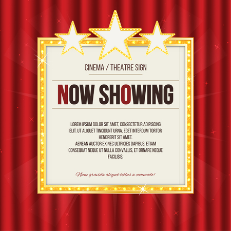 Theater sign or cinema sign with stars on red curtain. Gold retro signboard. Vector