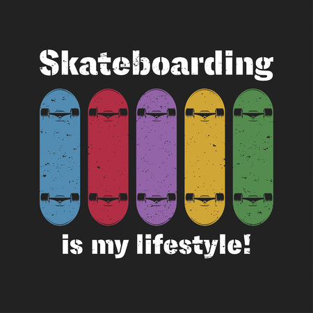 Skateboarding t shirt graphic. Urban skating. Vintage tee graphic with lettering. Vector