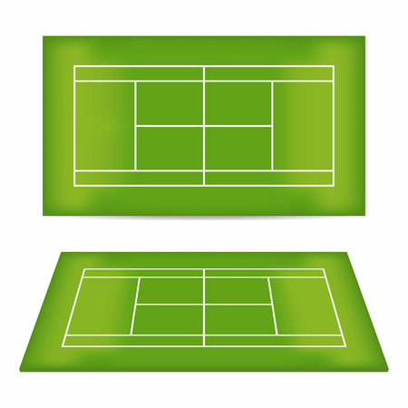 indoor court: Tennis court set. Tennis court with trampled down grass. Top view and perspective view. Vector