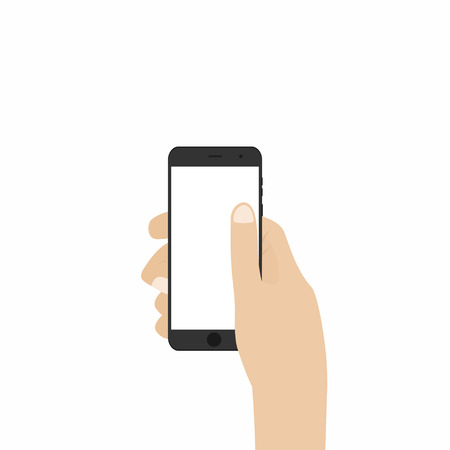 hand touch: Hand holding smartphone. Phone in hand isolated on white background. Vector