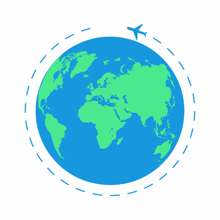 Flying plane around the world. The path plane, airplane route. Planet Earth icon. Vector
