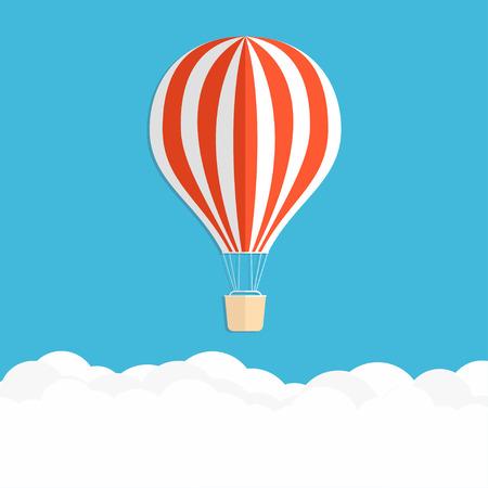 Hete luchtballon in de lucht. Rode gestreepte luchtballon boven wolken. Vector