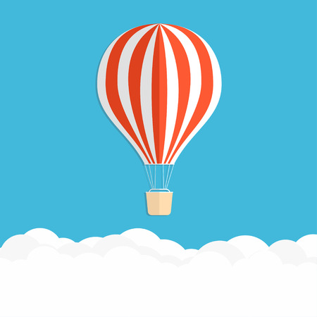 Hot air balloon in the sky. Red striped air balloon above clouds. Vector