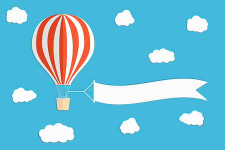 Flying advertising banner. Hot air balloon with vertical banners on blue sky background. Vector