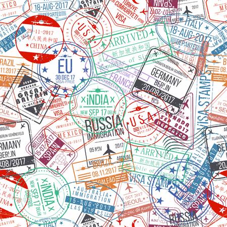 Passport stamp seamless pattern. International arrivals sign rubber, visa stamps. Vector Vettoriali