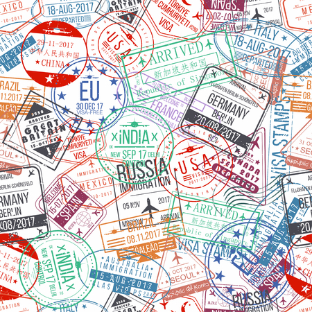 Passport stamp seamless pattern. International arrivals sign rubber, visa stamps. Vector Vectores